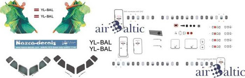 1/144 Scale Decal Air Baltic RJ-70 Green Lady
