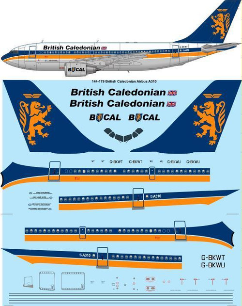 1/144 Scale Decal British Caledonian Airbus A310