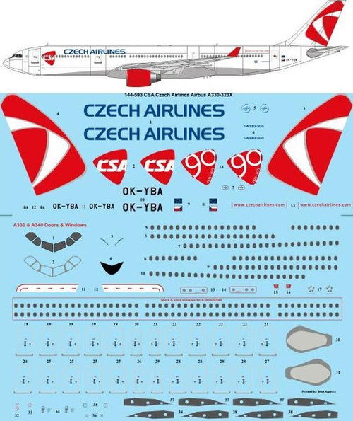1/144 Scale Decal CSA Czech Airlines Airbus A330-323X