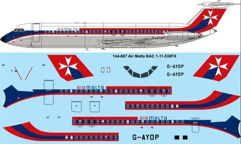 1/144 Scale Decal Air Malta BAC 1-11-500