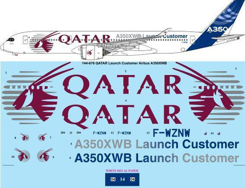 1/144 Scale Decal QATAR Launch Customer Airbus A350 XWB