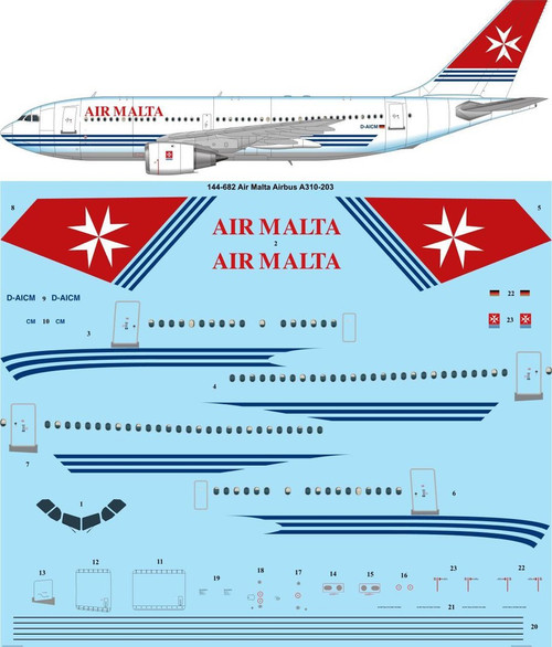 1/144 Scale Decal Air Malta Airbus A310-203