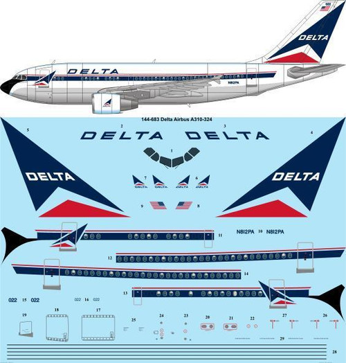 1/144 Scale Decal Delta Airbus A310-324
