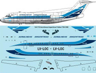 1/144 Scale Decal Aerolineas Argentinas Fokker F28-1000
