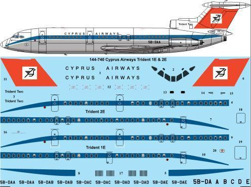 1/144 Scale Decal Cyprus Airways (early) Trident 1E & 2E