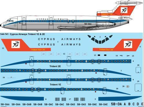 1/144 Scale Decal Cyprus Airways (late) Trident 1E & 2E