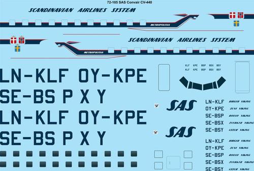 1/72 Scale Decal SAS Convair CV440 Metropolitan
