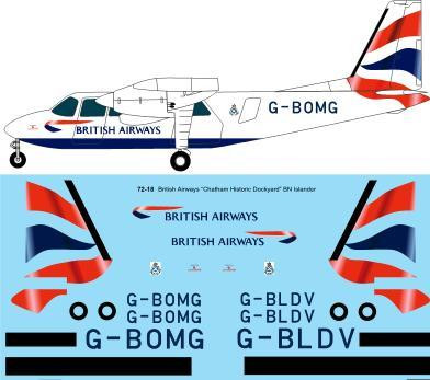 1/72 Scale Decal British Airways Britten Norman BN2A Islander