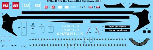 1/144 Scale Decal BEA Red Square BAC 1-11-510ED