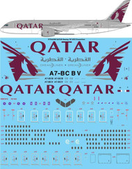 1/144 Scale Decal QATAR Airways Boeing 787-8