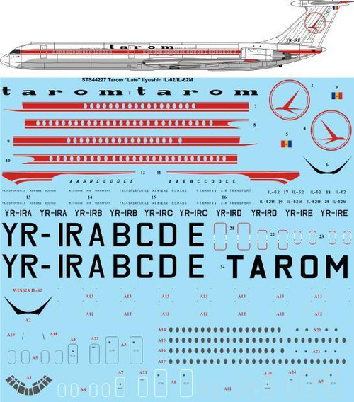 1/144 Scale Decal Tarom Ilyushin IL-62 / IL-62M