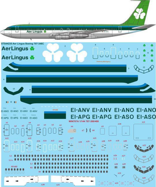1/144 Scale Decal Aer Lingus Boeing 707-348C