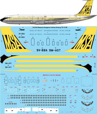 1/144 Scale Decal MSA Malaysia Singapore Boeing 707-312B