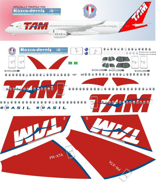 1/144 Scale Decal TAM A-350