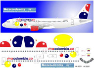 1/500 Scale Decal Viva Columbia A-320