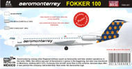 1/144 Scale Decal Aeromonterrey Fokker 100
