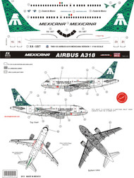 1/144 Scale Decal Mexicana A-318 Green Tail