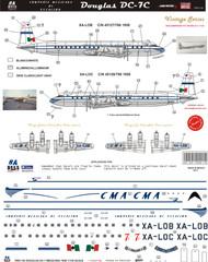 1/144 Scale Decal CMA Compania Mexicana de Aviacion DC-7