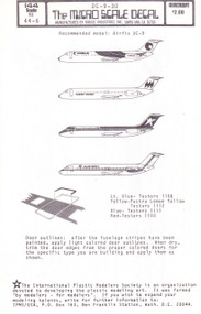 1/144 Scale Decal Eastern / Hawaiian Air / Hughes Airwest / Texas Intl DC9-30