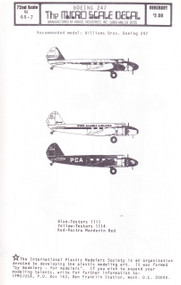 1/72 Scale Decal United / PCA / Wien Alaska Boeing 247