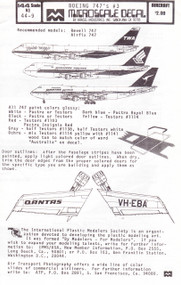 1/144 Scale Decal TWA / Singapore / Qantas 747