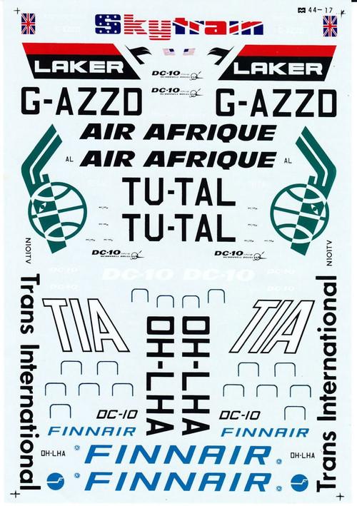1/144 Scale Decal Laker / Air Afrique / Finnair DC-10