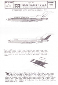 1/144 Scale Decal Wardair / World Airways 727