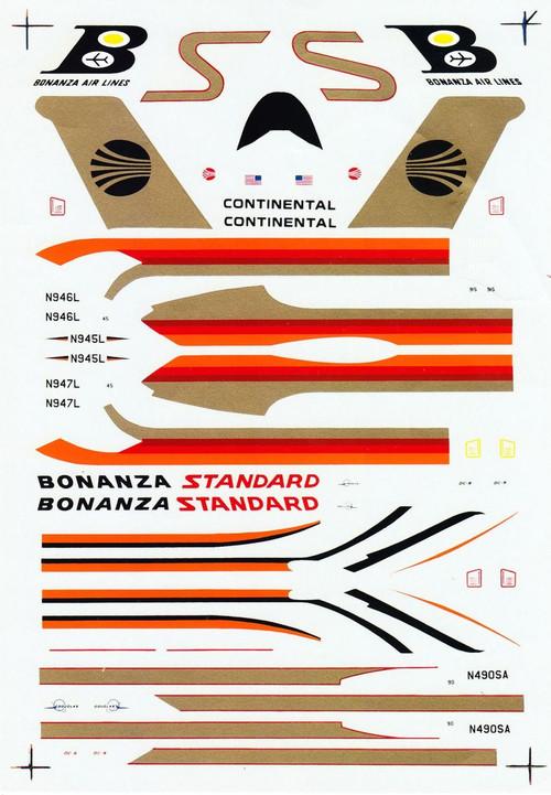 1/144 Scale Decal Continental / Standard / Bonanza DC9-10