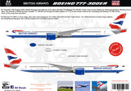 1/144, 1/200 , 1/400 Scale Decal British Airways 777-300ER