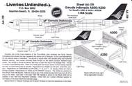 1/144 Scale Decal Garuda Indonesia A-300 / A-330