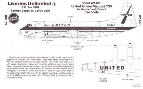 1/96 Scale Decal United Airlines Viscount 700