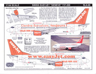 1/144 Scale Decal easyJet.com 737-300 Geneve