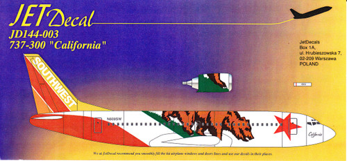 1/144 Scale Decal Southwest 737-300 California