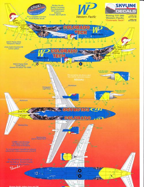 1/200 Scale Decal Western Pacific 737-300 Colorado Tech