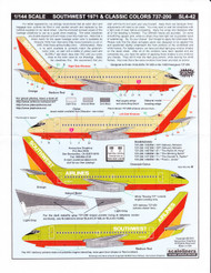 1/144 Scale Decal Southwest 737-200 Classic