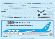 1/144 Scale Decal 777-200 Cockpit / Windows / Doors & Details