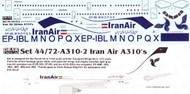 1/144 Scale Decal Iran Air A-310