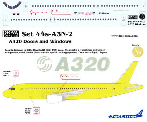 1/144 Scale Decal A-320 Cockpit / Windows / Doors & Details