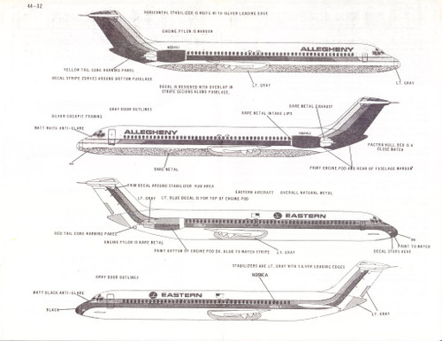 1/144 Scale Decal Eastern / Allegheny DC9-50