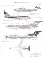 1/200 Scale Decal Western / Ansetta-Ana 737 / CP Air / Braniff International 727