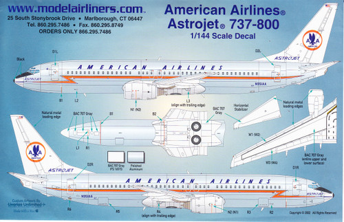 1/144 Scale Decal American Airlines 737-800 Retro