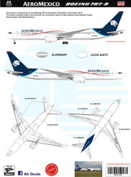 1/144 & 1/200 Scale Decal Aeromexico 787-9