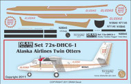 1/72 Scale Decal Alaska DCH-6 Twin Otter Golden Nugget