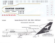 1/144 Scale Decal Qantas 747-SP / 238 / 338 / 438