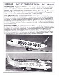 1/200 Scale Decal easyJet Telephone 737-300