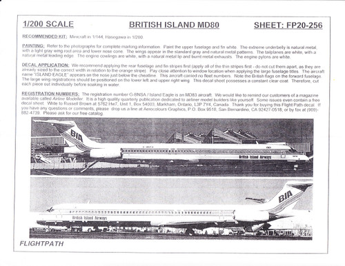 1/200 Scale Decal British Island Airways MD-80