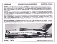 1/200 Scale Decal Air West 727-100 BLUE / GREEN