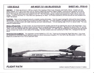 1/200 Scale Decal Air West 727-100 BLUE / GOLD