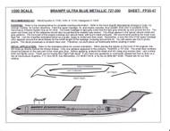 1/200 Scale Decal Braniff 727-200 ULTRA BLUE METALIC