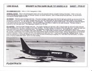 1/200 Scale Decal Braniff International 737-200 / DC9-10 ULTRA DARK BLUE